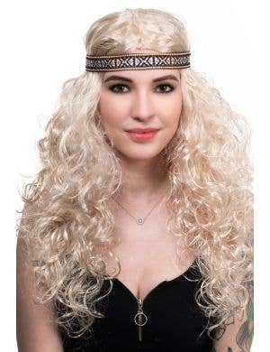 Women's Light Blonde Curly Long Hippie Wig