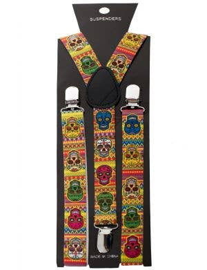 Sugar Skull Day of the Dead Costume Suspenders