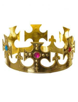 Jewelled King's Royal Gold Crown Costume Accessory