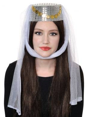 Harem Women's Silver and White Veiled Pill Box Hat
