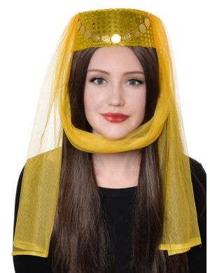 Harem Women's Gold and Yellow Veiled Pill Box Hat