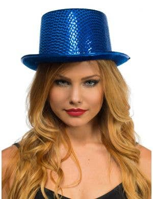 Sequinned Costume Top Hat in Blue