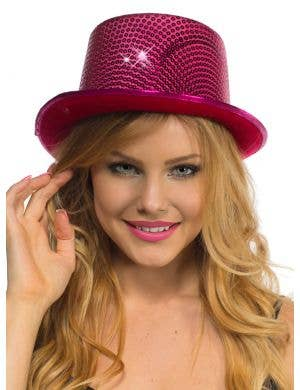 Sequinned Costume Top Hat in Hot Pink
