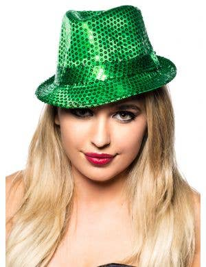 Sequined Gangster Green Fedora Hat Costume Accessory