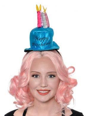 Happy Birthday Blue Cake on Headband Costume Accessory