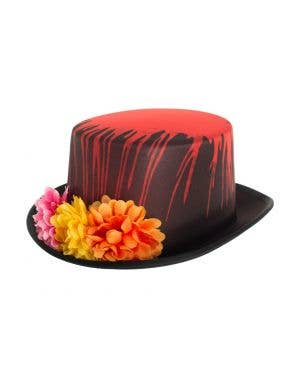 Black and Red Top Hat with Flowers