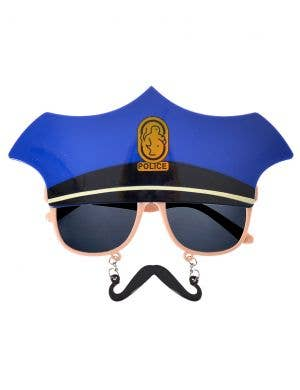 Police Glasses and Hanging Moustache Novelty Costume Glasses
