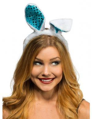 Plush White and Blue Sequinned Easter Bunny Ears