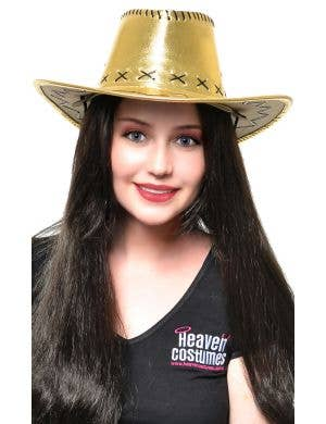 Metallic Gold Women's Cowboy Hat Costume Accessory