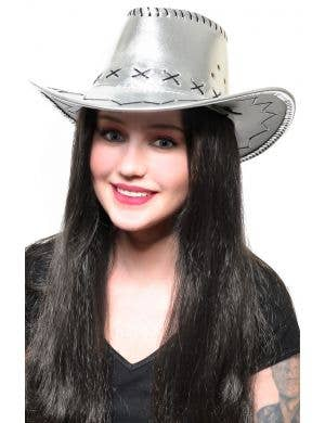 Metallic Silver Women's Cowboy Hat Costume Accessory