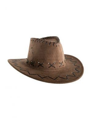 9050d2fbab990 Faux Suede Boy s Brown Cowboy Hat Costume Accessory ...