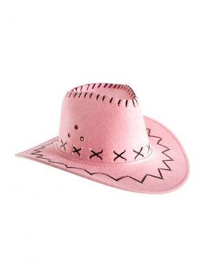 Faux Suede Girl's Pink Cowboy Hat Costume Accessory