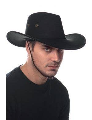 Black Suede Leather Look Cowboy Costume Hat