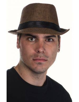 Brown Coloured Woven Straw Trilby Hat