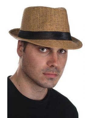 Tan Coloured Woven Straw Trilby Hat