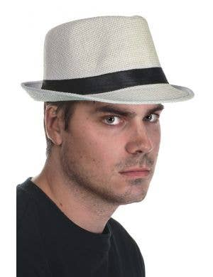 White Coloured Woven Straw Trilby Hat