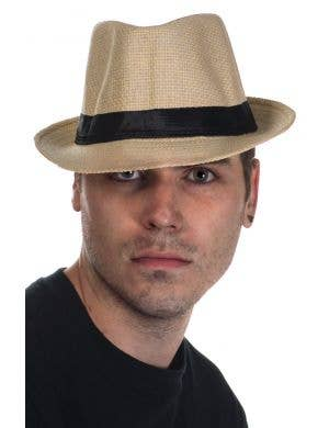 Cream Coloured Woven Straw Trilby Hat
