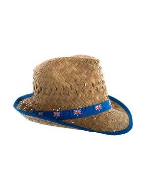 Brown Straw Fedora Australia Day Hat With Australian Flag Band