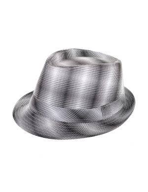 Black And White Plaid Checkered Trilby 1960's Costume Hat