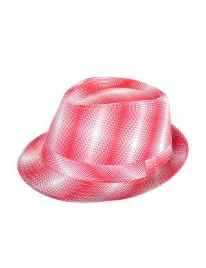 Red And White Plaid Checkered Trilby Gangster 1920's Costume Hat