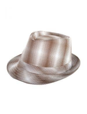 Brown And White Plaid Checkered Trilby Gangster 1920's Costume Hat
