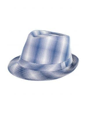 Blue And White Plaid Checkered Trilby 1960's Costume Hat
