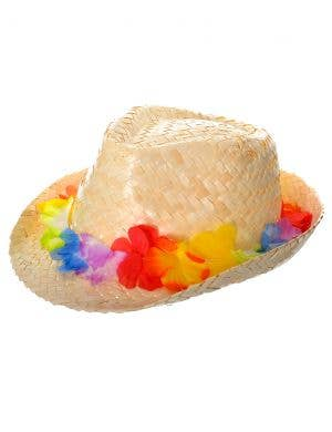 Hawaiian Straw Fedora Hat with Coloured Flowers