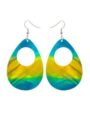 Blue and Yellow 1980's Iridescent Shell Costume Earrings