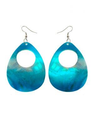 Blue and Silver 1980's Iridescent Shell Costume Earrings