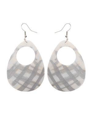 Silver and White 1980's Iridescent Shell Costume Earrings