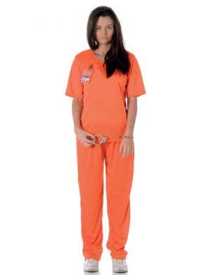 Women's Female Prisoner Orange Jumpsuit Costume Front View