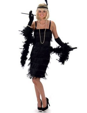 Women's Black Flapper Fancy Dress Costume Main Image