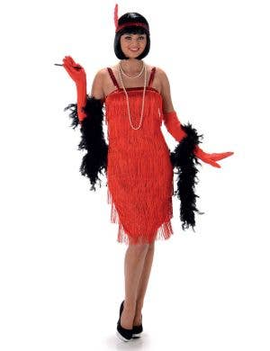 Women's Red Flapper Fancy Dress Costume Main Image