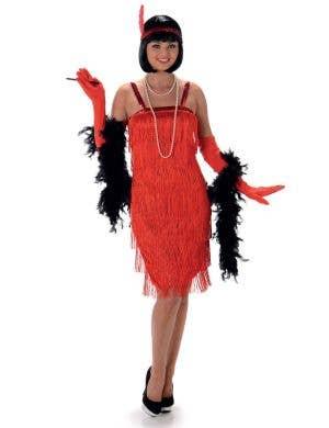 Women's Red Flapper Fancy Dress Costume Main Image