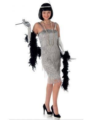Women's Silver Flapper Fancy Dress Costume Main Image