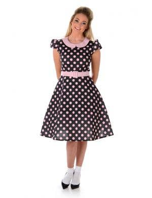 Women's 1950's Black and Pink Polka Dot Costume Main Image