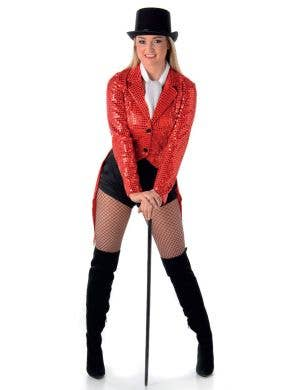 Red Sequined Showgirl Jacket with Tails Main Image