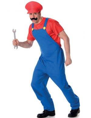 Red Plumber Men's Mario Video Game Costume Main Image
