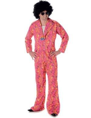 Men's 1970's Pink Hippie Suit Costume Main Image