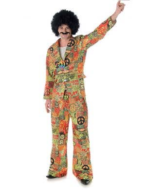 Men's 1970's Peace Sign Hippie Suit Costume Main Image