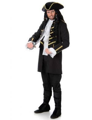 Men's Black Buccaneer Pirate Costume Main Image