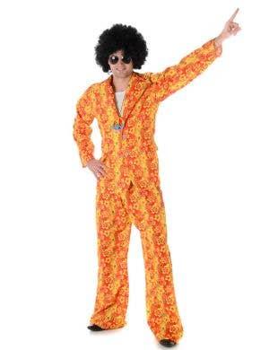 Men's 1970's Orange Hippie Suit Costume Main Image