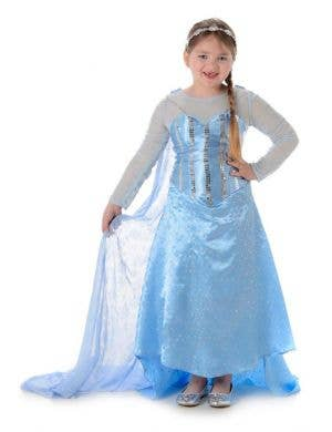 Girls Ice Princess Elsa Fancy Dress Costume Main Image