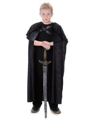 Black Fur Kids Halloween Costume Cape Main Image