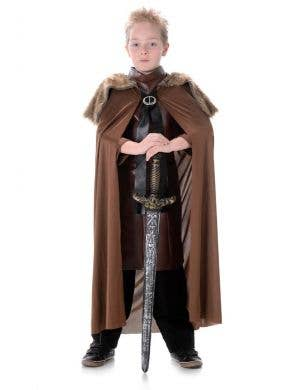 Brown Fur Kids Medieval Costume Cape Main Image
