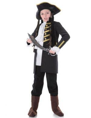 Black Pirate Kids Fancy Dress Costume Main Image