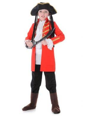 Red Pirate Captain Boy's Fancy Dress Costume Main Image