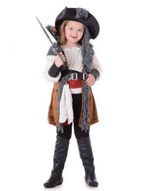 Girl's Pirate Captain Fancy Dress Costume Main Image