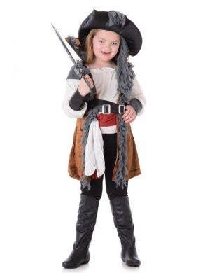 Girl's Pirate Captain Fancy Dress Costume Main Image
