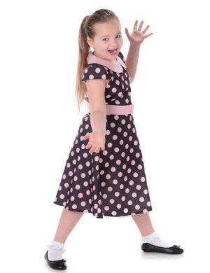 Girls 1950's Black and Pink Polka Dot Costume Main Image